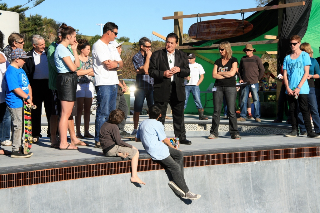 MAZ Skate Park Opening Day Photos Kaumatua Charlie Connoly Blessing
